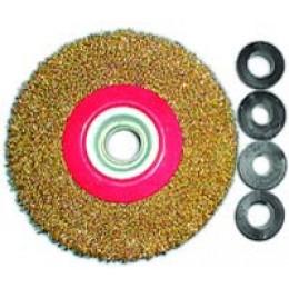 Щетка по металлу дисковая с прямым ворсом ф 150х32 с переходниками 12,14,16,20,22